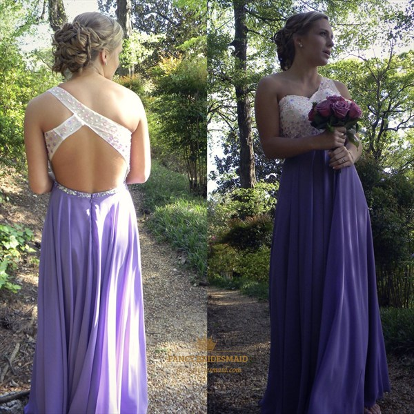 Lilac One Shoulder Beaded Backless A Line Chiffon Long Prom Dress