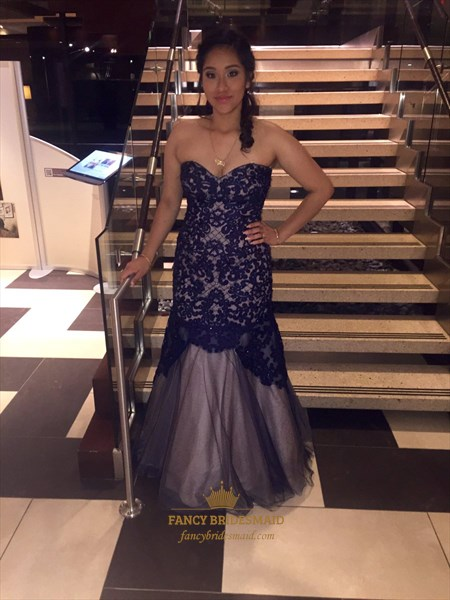 Grape Strapless Lace Applique Mermaid Full Length Prom Dress
