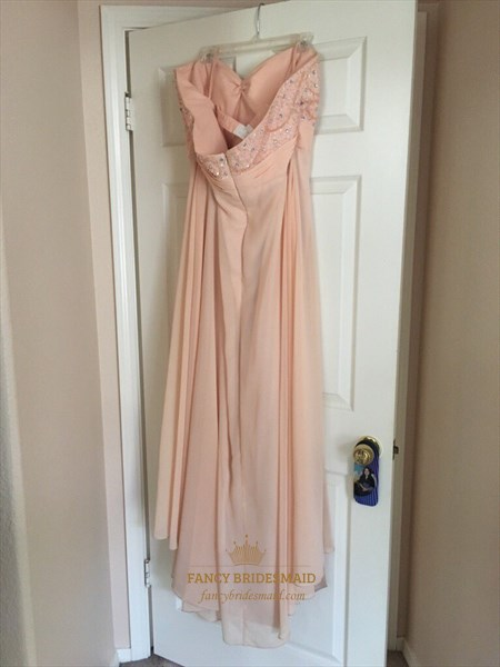 Peach Strapless Embellished Empire Waist Long Chiffon Bridesmaid Dress