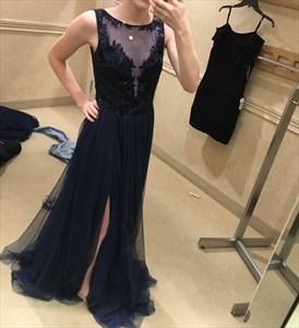 Black Illusion Neckline Sheer Applique Formal Dress With Side Cutout