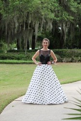 Black Sheer Sequin Top Polka Dot Ball Gown Long Formal Dress