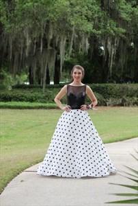 Black Sheer Sequin Top Polka Dot Ball Gown Long Formal Dress