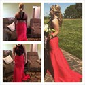 Red Sheer Two Piece Lace Applique Full Length Mermaid Formal Gown