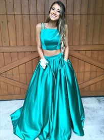 Teal Spaghetti Strap Two Piece Ball Gown Prom Dress With Pockets