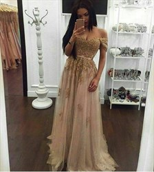 Champagne Off The Shoulder Embellished Tulle Floor Length Formal Dress
