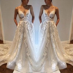 White Spaghetti Strap Sheer Lace Overlay Open Back Wedding Dress