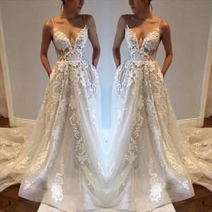 White Spaghetti Strap Sheer Lace Overlay Open Back Wedding Dress
