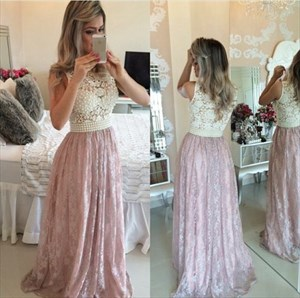 Pink Two Tone Beaded Bodice Lace Embellished Floor Length Prom Dress