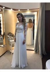 Ivory Sheer Lace Applique Long Sleeve Backless Chiffon Wedding Dress