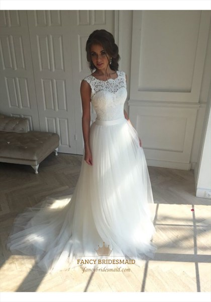 White Lace Embellished Open Back Long Ball Gown Wedding Dress