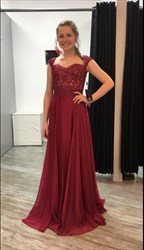 Burgundy Cap Sleeve Lace Bodice Chiffon Sheer Back Bridesmaid Dress