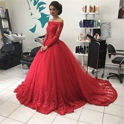Red Off The Shoulder Long Sleeve Lace Applique Ball Gown Wedding Dress