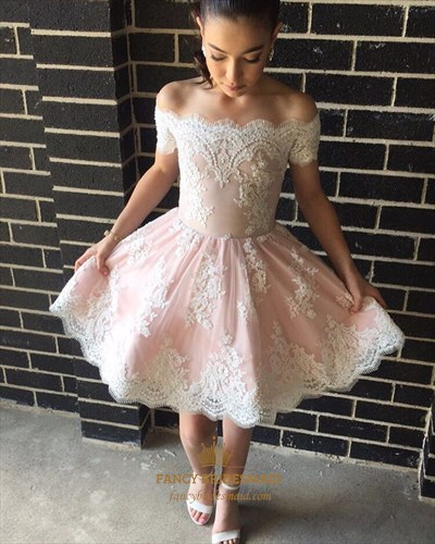 Pink Off The Shoulder Lace Applique Short Homecoming Dress
