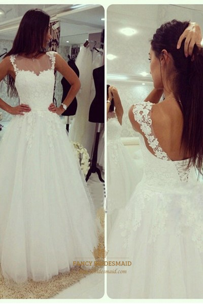 White Lace Top Open Back Tulle Ball Gown Wedding Dress With Straps