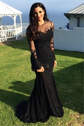 Black Sheer Lace Applique Long Sleeve Floor Length Mermaid formal Gown