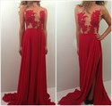 Red Sheer Lace Applique Side Cutouts A Line Long Chiffon Prom Dress