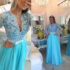 Aqua Blue Beaded Lace Applique Bodice Backless Long Sleeve Prom Dress