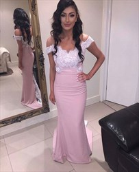 Pink Lace Applique Off-The-Shoulder Long Formal Dress With Train