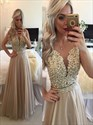 Champagne Beaded Illusion Lace Bodice Open Back Long Formal Gown