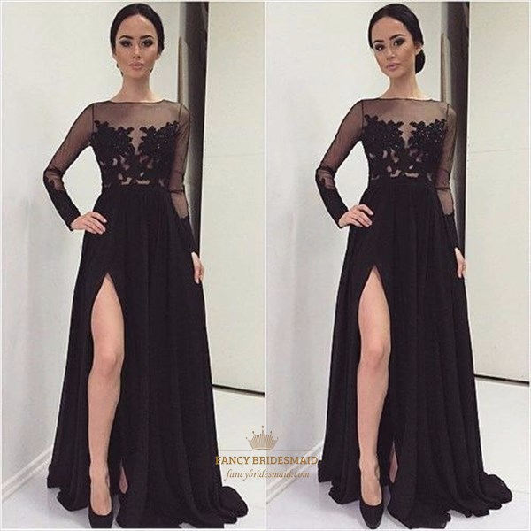 Black Sheer Lace Applique Long Sleeve Prom Dress With Side Cutout