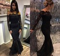 Black Off The Shoulder Long Sleeve Lace Mermaid Formal Dress