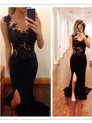 Black Sheer Lace Applique Mermaid Long Prom Dress With Side Cut-Out