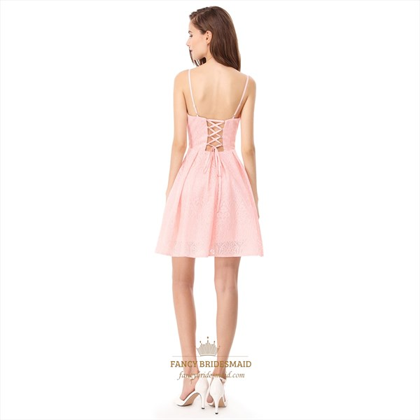 Pink Spaghetti Strap Sheer Neck Short Lace Fit And Flare Dress