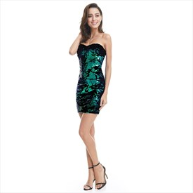 Green Sleeveless Sequin Embellished Sheath Short Cocktail Dress