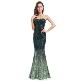 Green Strapless Sequin Mermaid Floor Length Evening Dress