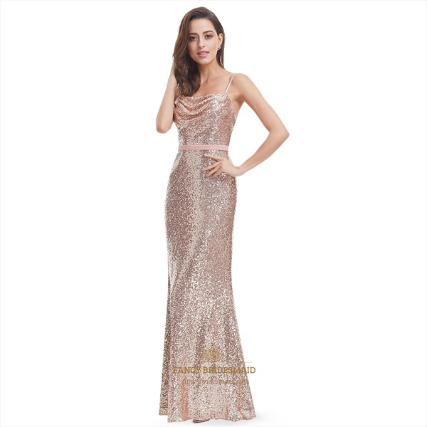 Pink Spaghetti Strap Sequin Backless Long Evening Dress