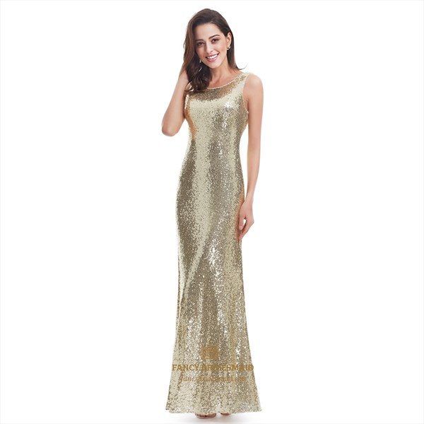 Gold Sleeveless Sequin Embellished Open Back Long Mermaid Evening Gown