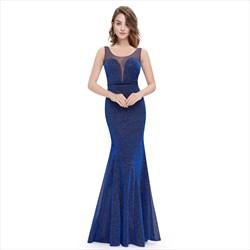 Navy Blue Sheer Neck Sleeveless Embellished Long Mermaid Formal Dress