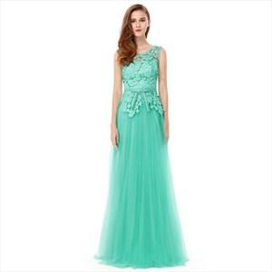 Mint Green Lace Top Chiffon Backless Long Bridesmaid Dress