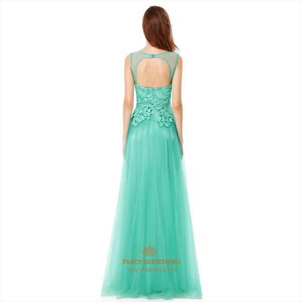Mint Green Lace Top Chiffon Backless Long Bridesmaid Dress