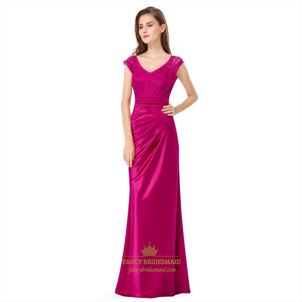 Hot Pink V-Neck Cap-Sleeve Ruched Lace Bodice Long Formal Dress