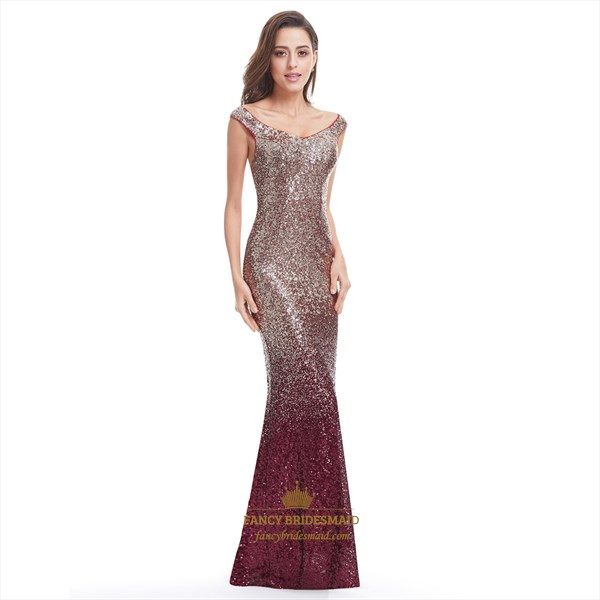 Burgundy Scoop Neck Sequin Mermaid Floor Length Evening Gown