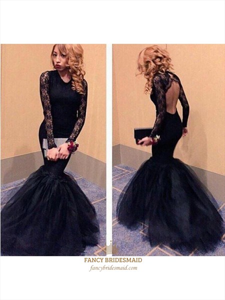 Black Lace Long Sleeve Open Back Mermaid Floor Length Formal Dress