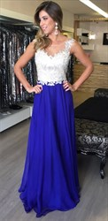 Royal Blue Illusion Sheer Lace Top Chiffon Bottom Long Prom Dress