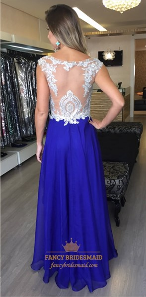 Royal Blue Illusion Sheer Lace Top Chiffon Bottom Long Prom Dress
