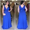 Royal Blue V Neck Lace Embellished Bodice Chiffon Long Prom Dress