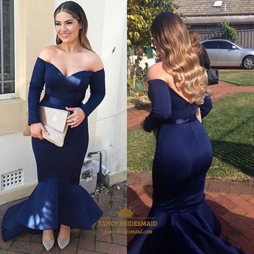 Navy Blue Off The Shoulder Long Sleeve Mermaid Formal Dress