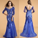 Royal Blue V Neck Lace Applique Sheer Long Sleeve Backless Prom Dress