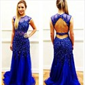 Royal Blue Sheer Illusion Beaded Bodice Backless Long Prom Dress