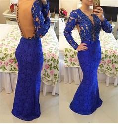 Royal Blue V Neck Beaded Long Sleeve Lace Mermaid Long Prom Dress