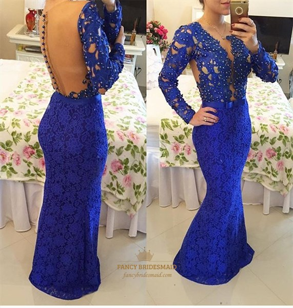 Royal Blue V Neck Beaded Long Sleeve Lace Mermaid Long Prom Dress