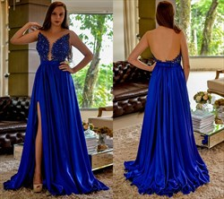 Royal Blue Beaded Embellished Bodice Prom Dress With Side Cutouts