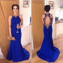 Royal Blue Embellished Backless Sleeveless Sheath Long Prom Dress