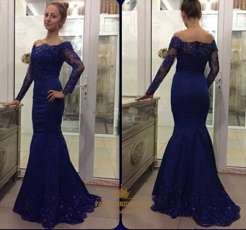 Royal Blue Off The Shoulder Lace Long Sleeve Mermaid Formal Dress