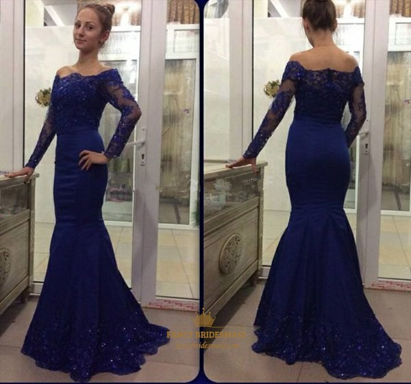 Royal Blue Off The Shoulder Lace Long Sleeve Mermaid Formal Dress