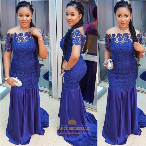 Royal Blue Off The Shoulder Short Sleeve Lace Applique Long Prom Dress